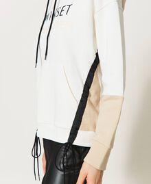 Sudadera con cordón de ajuste y logotipo Bicolor Blanco «Marfil» / Rosa «Frapé» Mujer 211LL2LGG-05