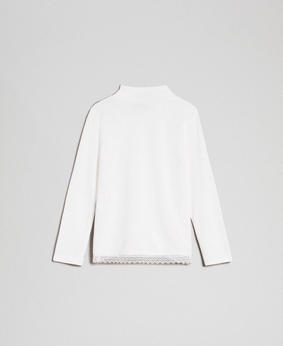 T-shirt en jersey avec dentelle Off White Enfant FCN2D1-0S
