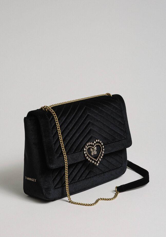 Large velvet shoulder bag