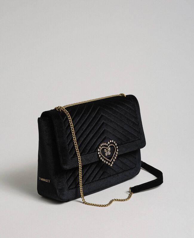 Grand sac à bandoulière en velours Noir Femme 192TO8070-01