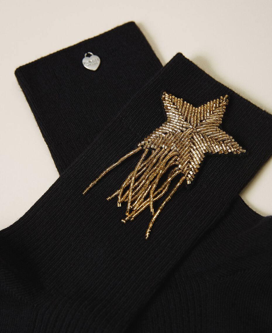 Socks with patch embroidery Black Woman 202TA436A-02