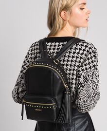 Faux leather backpack with studs Black Woman 192TO8165-0S