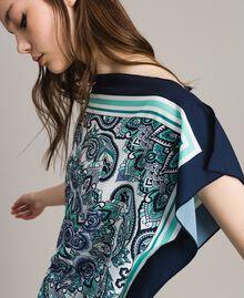 Шарф-блуза из крепдешина с принтом Ночной Синий Принт Для Шарфа женщина 191MT2122-04