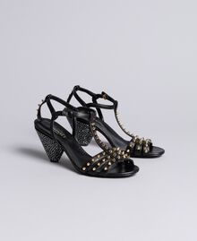 Studded leather sandals Black Woman CA8TLA-02