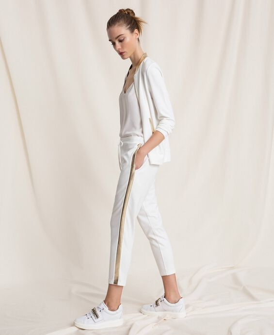 Cigarette trousers with laminated bands