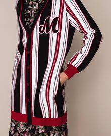 """Striped maxi cardigan Multicolour Vanilla / Black / """"Venetian"""" Red Woman 201MP3050-04"""