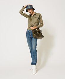 Borsa shopper Twinset Bag in pelle ripiegabile Dark Olive Green Donna 202TB7099-0T