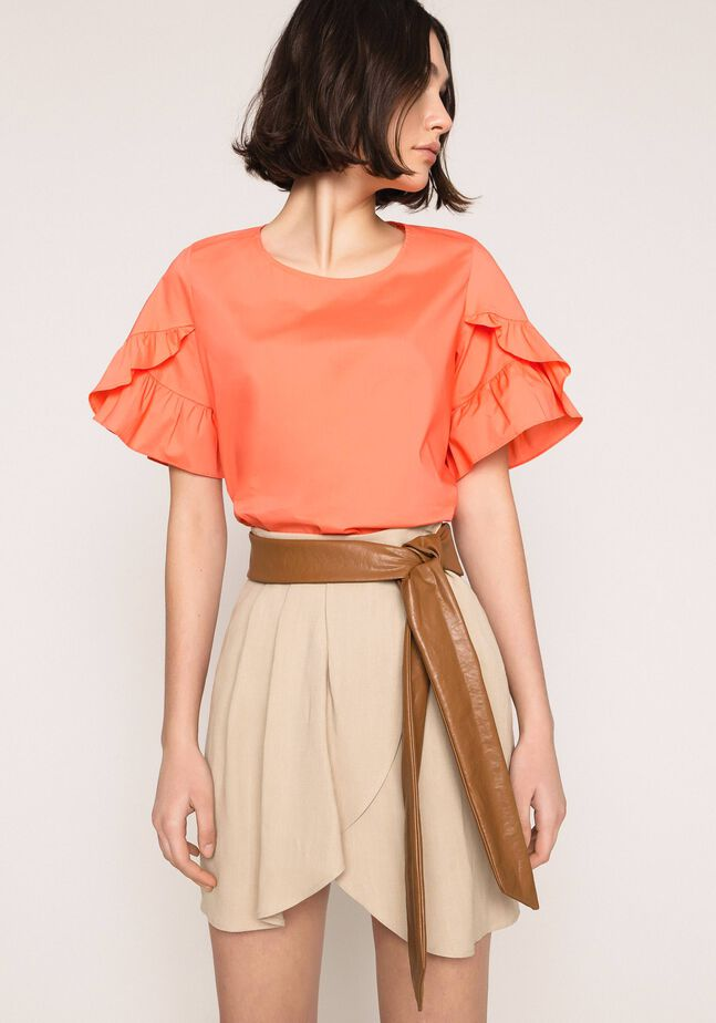 Canvas and faux leather skirt