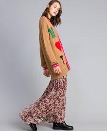 Maxi wool blend cardigan with inlays Caramel Woman YA83AN-02
