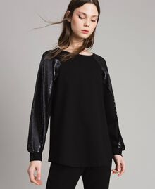 Jersey sweatshirt with sequins Black Woman 191LB22LL-01