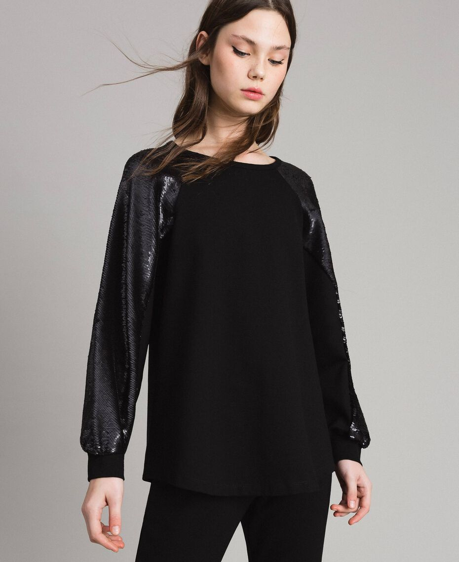 Stricksweatshirt mit Pailletten Schwarz Frau 191LB22LL-01