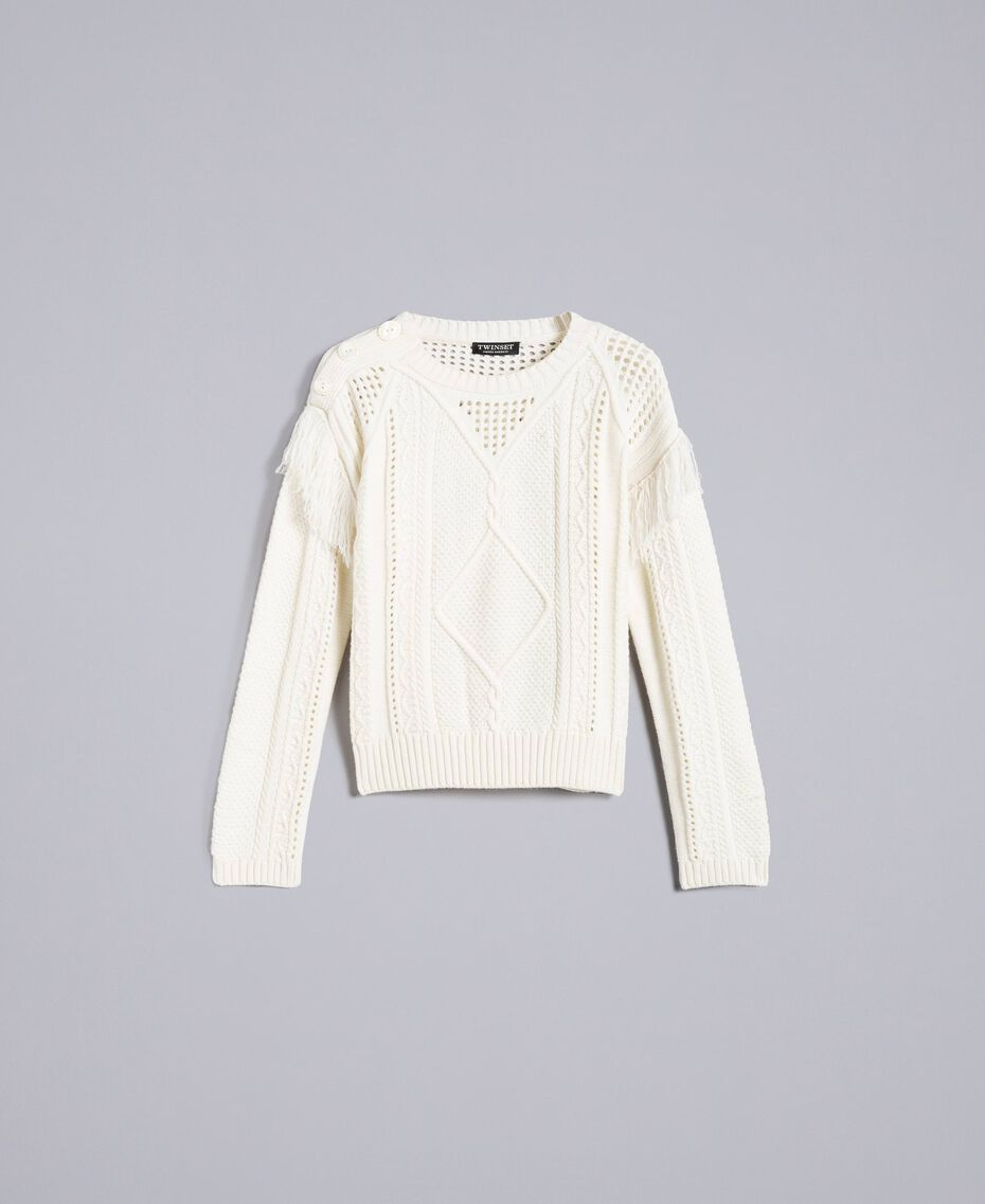 Pull en laine mélangée avec franges Blanc Neige Femme PA83BA-0S