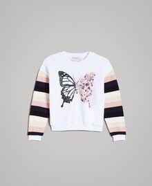 Geknüpfter gestreifter Baumwoll-Pullover Streifen Optisch Weiß / Multicolour Kind 191GJ2451-01