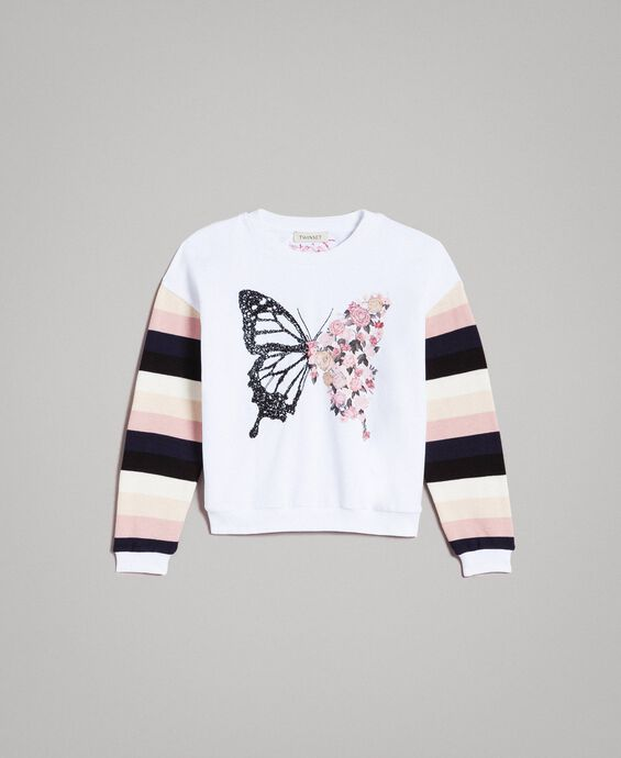 Cotton knitted striped sweatshirt