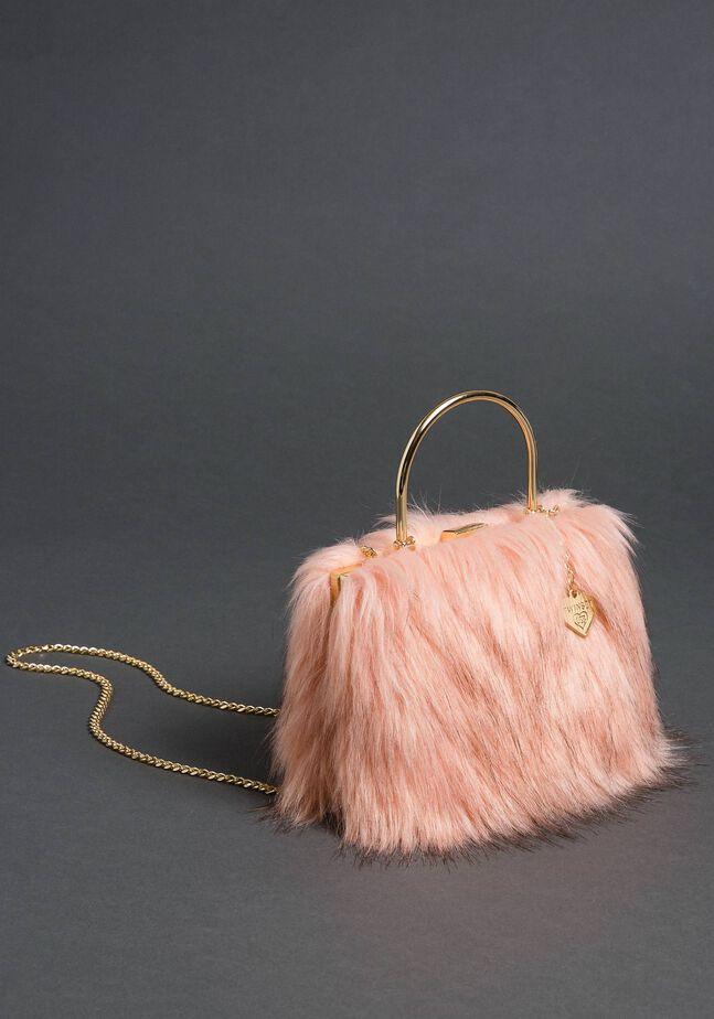 Faux fur shoulder bag