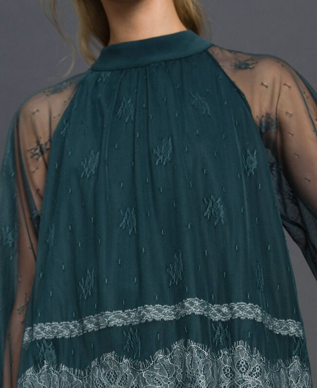 Chantilly lace blouse Forest Green / Creamy White Woman 192ST2112-04