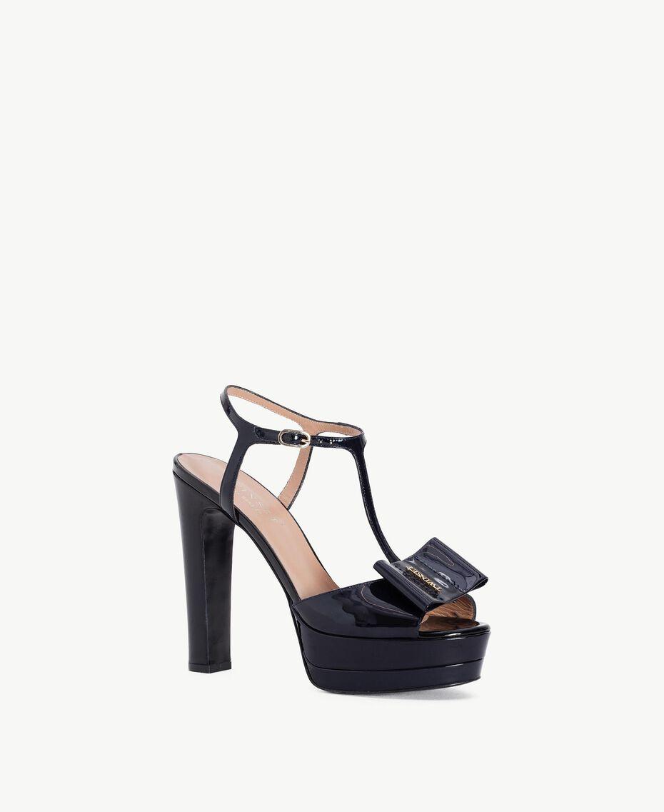 TWINSET Sandalo vernice Blue Black CA7PLW-02