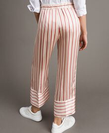 Striped satin trousers Pearl Pink Striping Woman 191TP245B-04