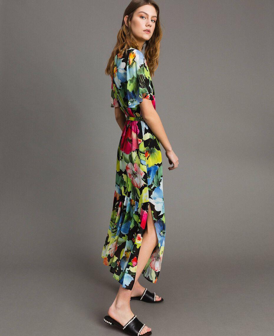 Robe longue de georgette à imprimé floral Gros Imprimé Fleur Noir Femme 191TT2481-01