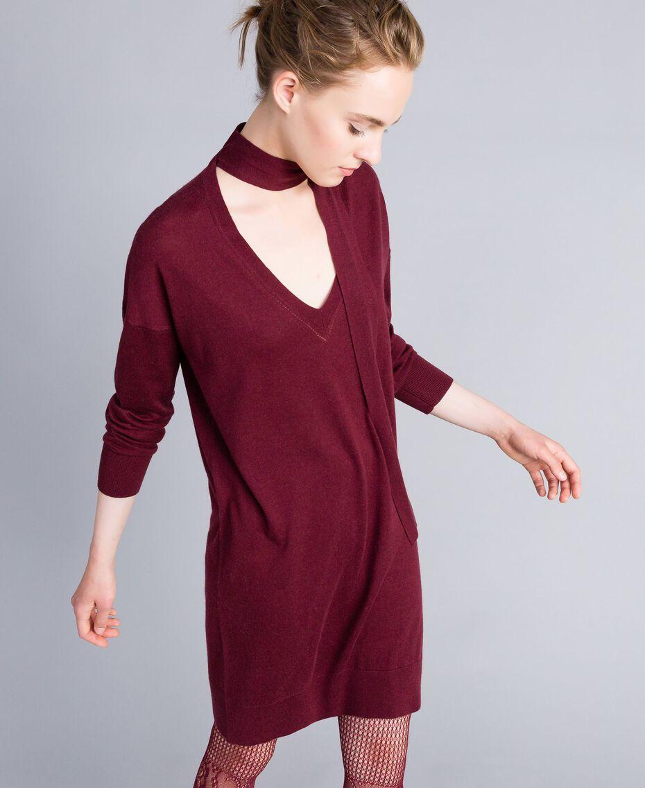 Robe en soie et cachemire Bordeaux Femme PA83GE-01