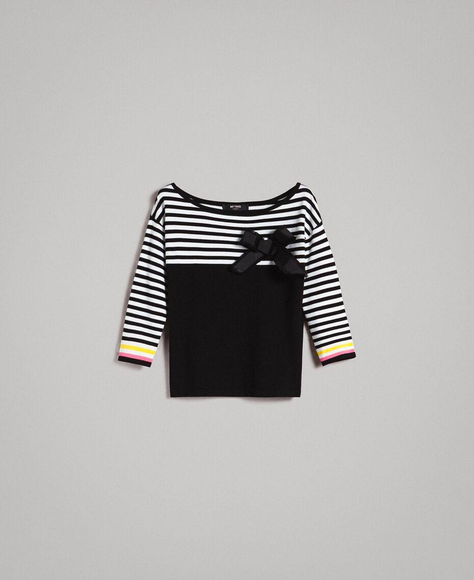 Pull à rayures avec broche nœud Bicolore Noir / Blanc Femme 191MP3055-0S