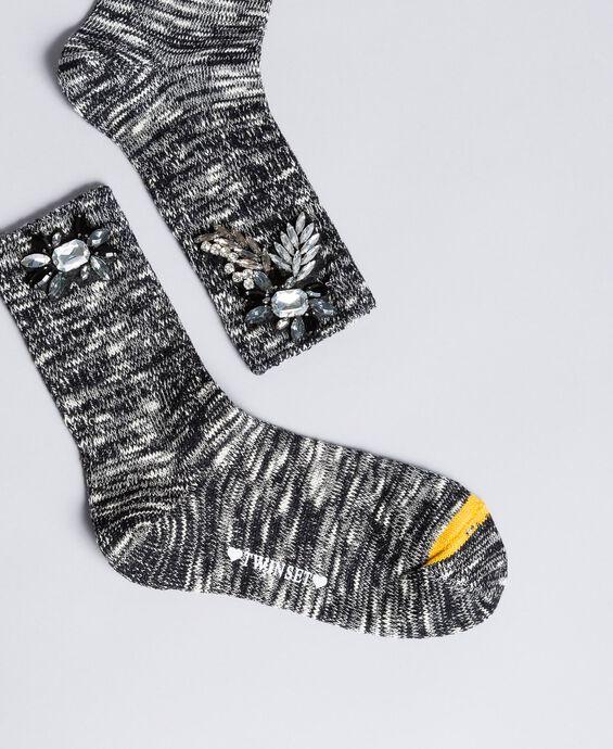 Chaussettes chinées avec strass