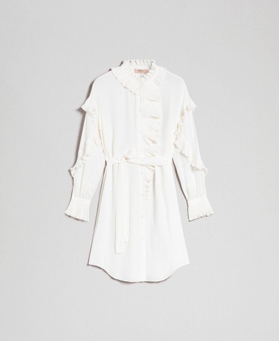 Kleid aus Crêpe de Chine aus Seidenmischung Weiß Schnee Frau 192TP2101-0S