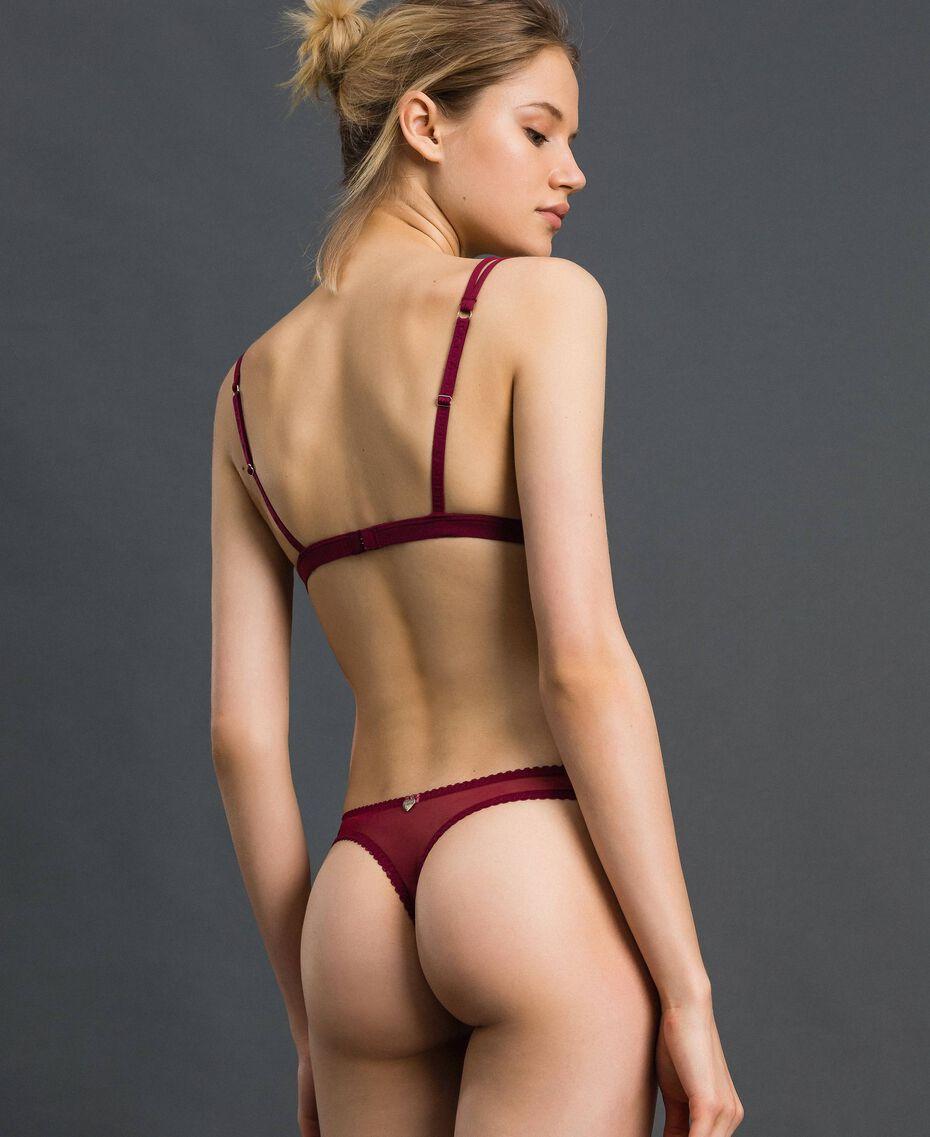 Padded lace triangle bra Purple Red / Lead Grey Woman 192LI6422-03
