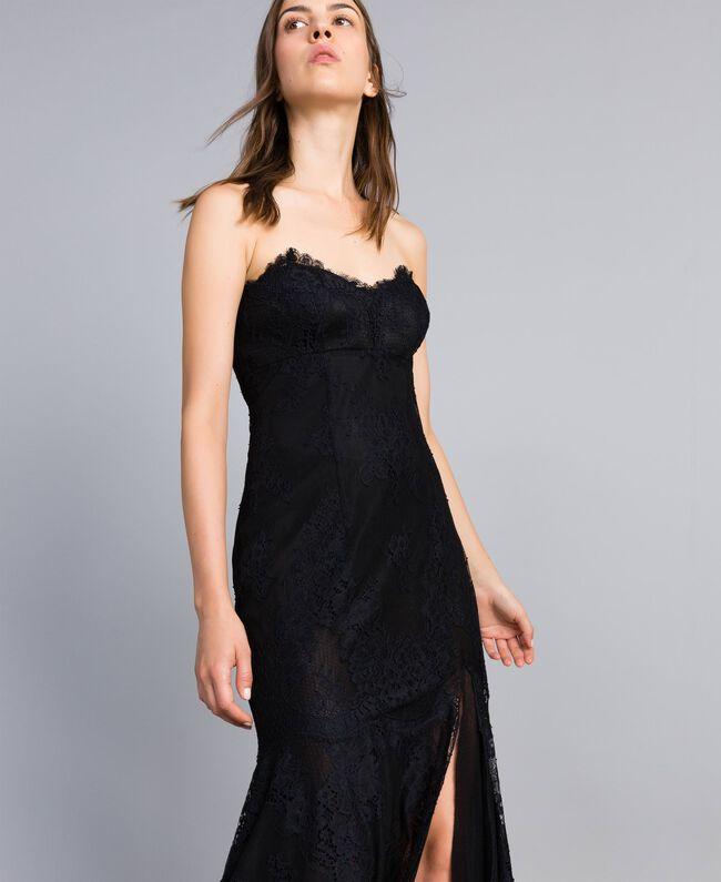 Robe longue en dentelle Noir Femme QA8TNN-04
