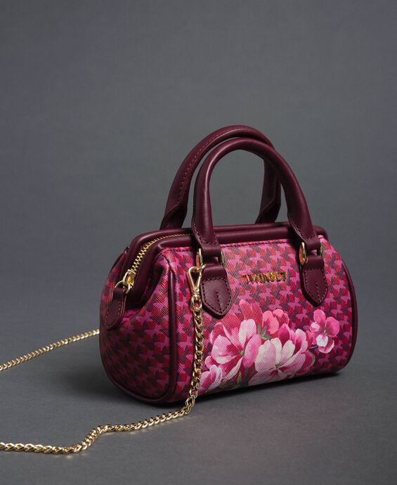 Printed faux leather mini bowler bag