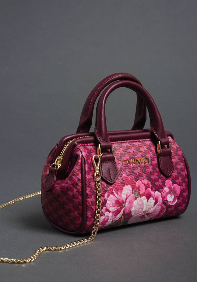 Mini-Bauletto-Tasche aus bedrucktem Lederimitat