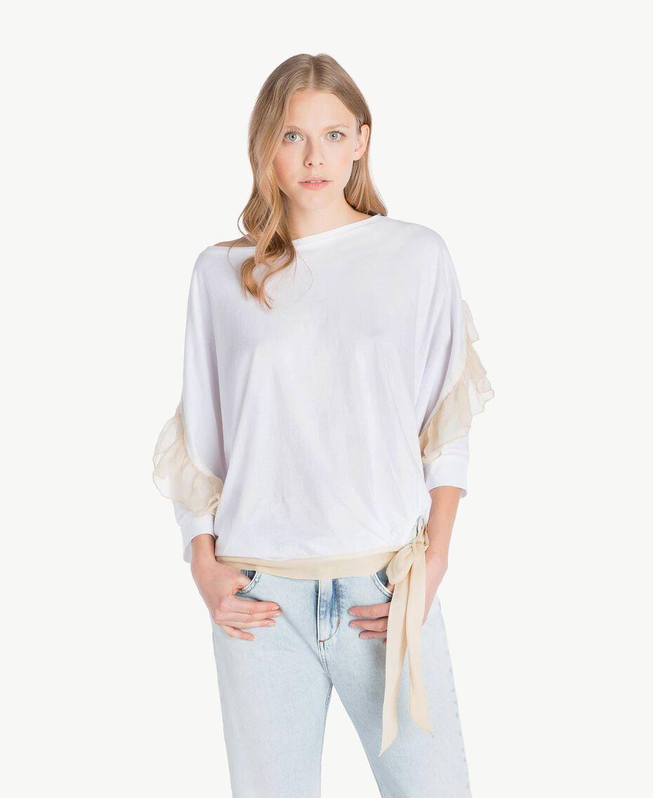 Maxi-T-Shirt mit Volants Weiß Frau PS82T2-01