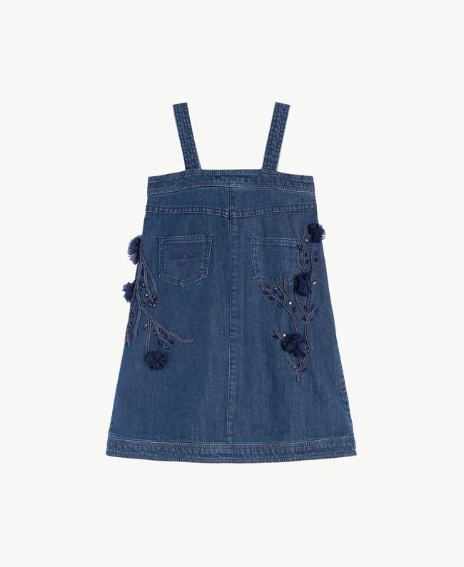 Kleid aus Denim Stickerei Denimblau / Ozeanblau Kind GS82JB-01