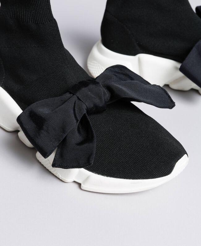 Baskets avec grand nœud Noir / Noir Femme DA8PSA-04
