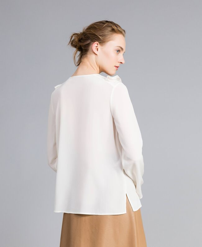Silk blouse with micro ruches White Snow Woman PA82EJ-04