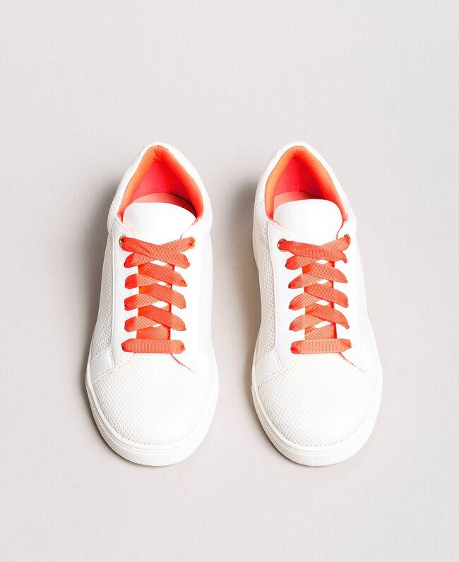 Sneakers aus Stoff mit Netzeffekt Weiß Frau 191LL49EE-01