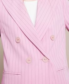 "Double breasted pin stripe blazer ""Candy"" Pink Pin Stripe Jacquard Woman 201ST2080-05"