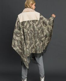 Camouflage wool cloth and bouclé cape Camouflage Jacquard Woman 192TT2503-04