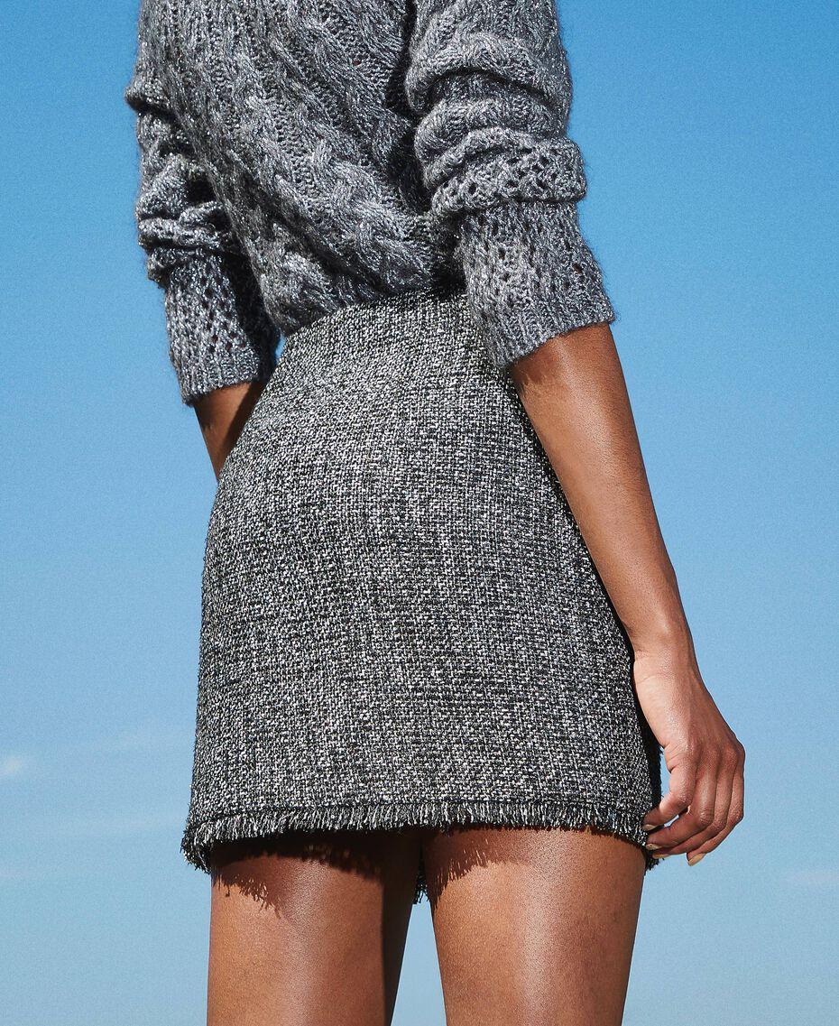 Mini-jupe en tissu bouclé avec sequins Noir Femme 202MT218B-02