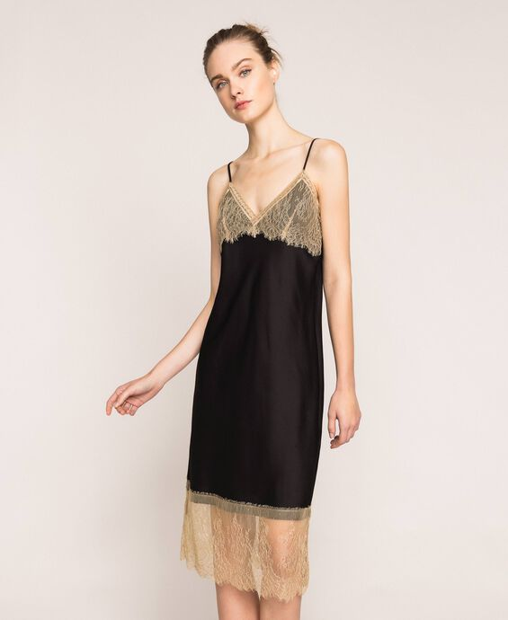 Satin slip dress with lace