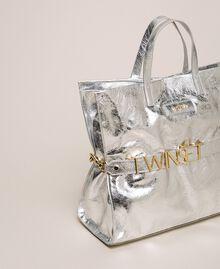 Leather shopper with logo White Snow Woman 201TA7090-01