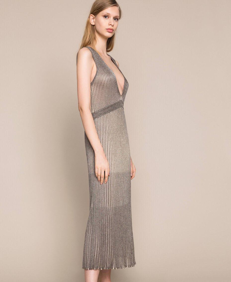 Vestido largo de tejido de lúrex Multicolor Plata Mujer 201TT3051-02