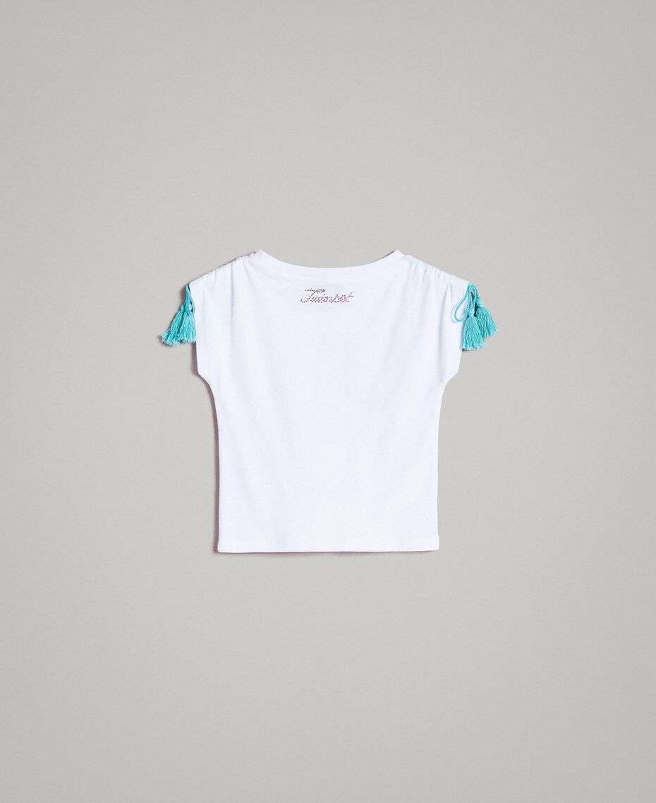Jersey T-shirt with print and rhinestones White Child 191GB2512-0S
