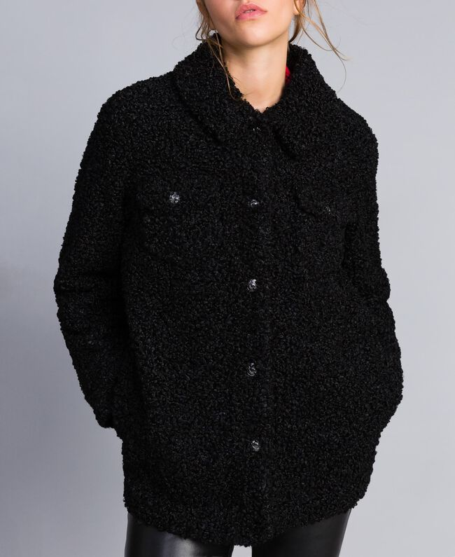 Faux lamb fur peacoat Black Woman JA82KG-04