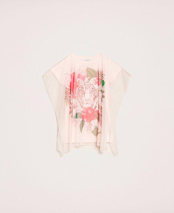 Maxi T-Shirt mit Print und Tüll