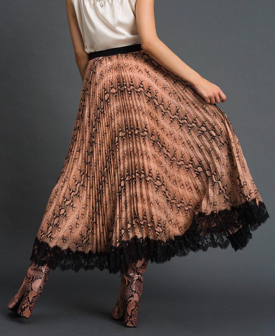 Animal print pleated midi skirt Canyon Pink Python Print Woman 192TT2274-03