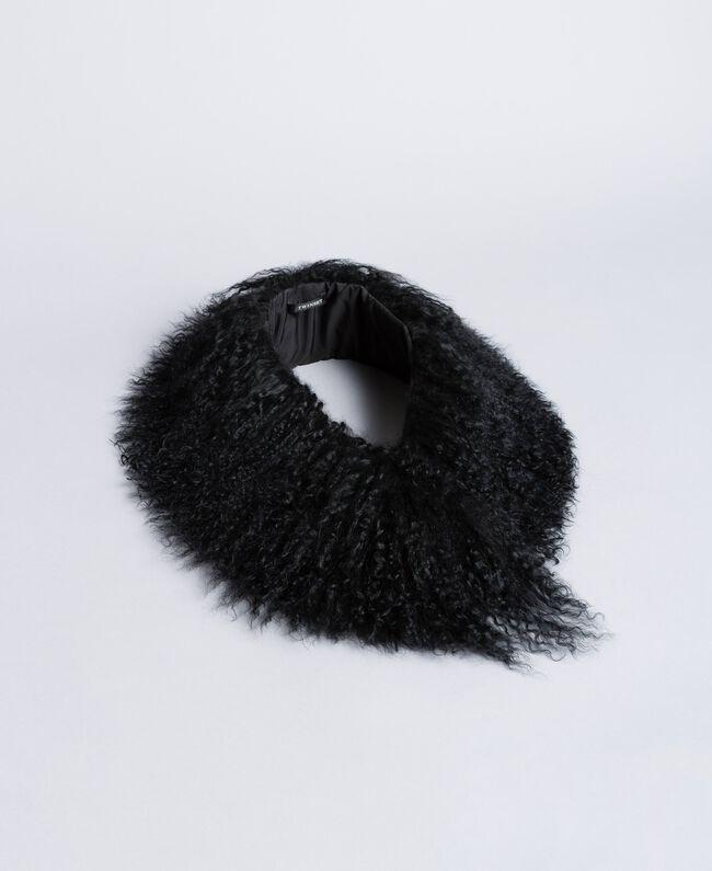 Col en fourrure Noir Femme OA8T9C-01