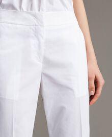 Poplin drainpipe trousers White Woman 191TT2231-04