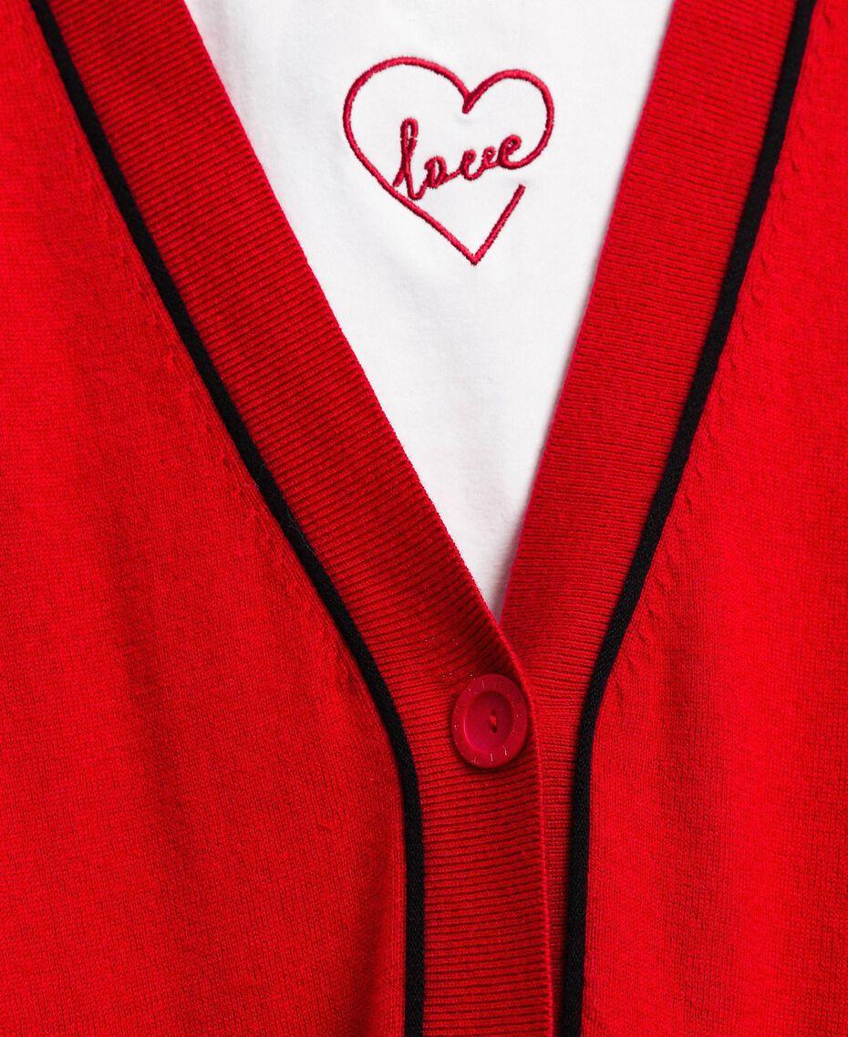 Maxi cardigan avec bords contrastés Rouge Coquelicot / Noir Femme 192MP3051-05