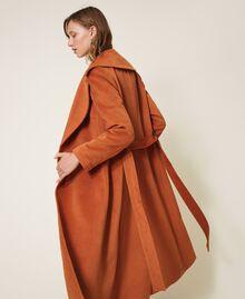 Abrigo largo de paño Rojo Terracota Mujer 202LI2CAA-03